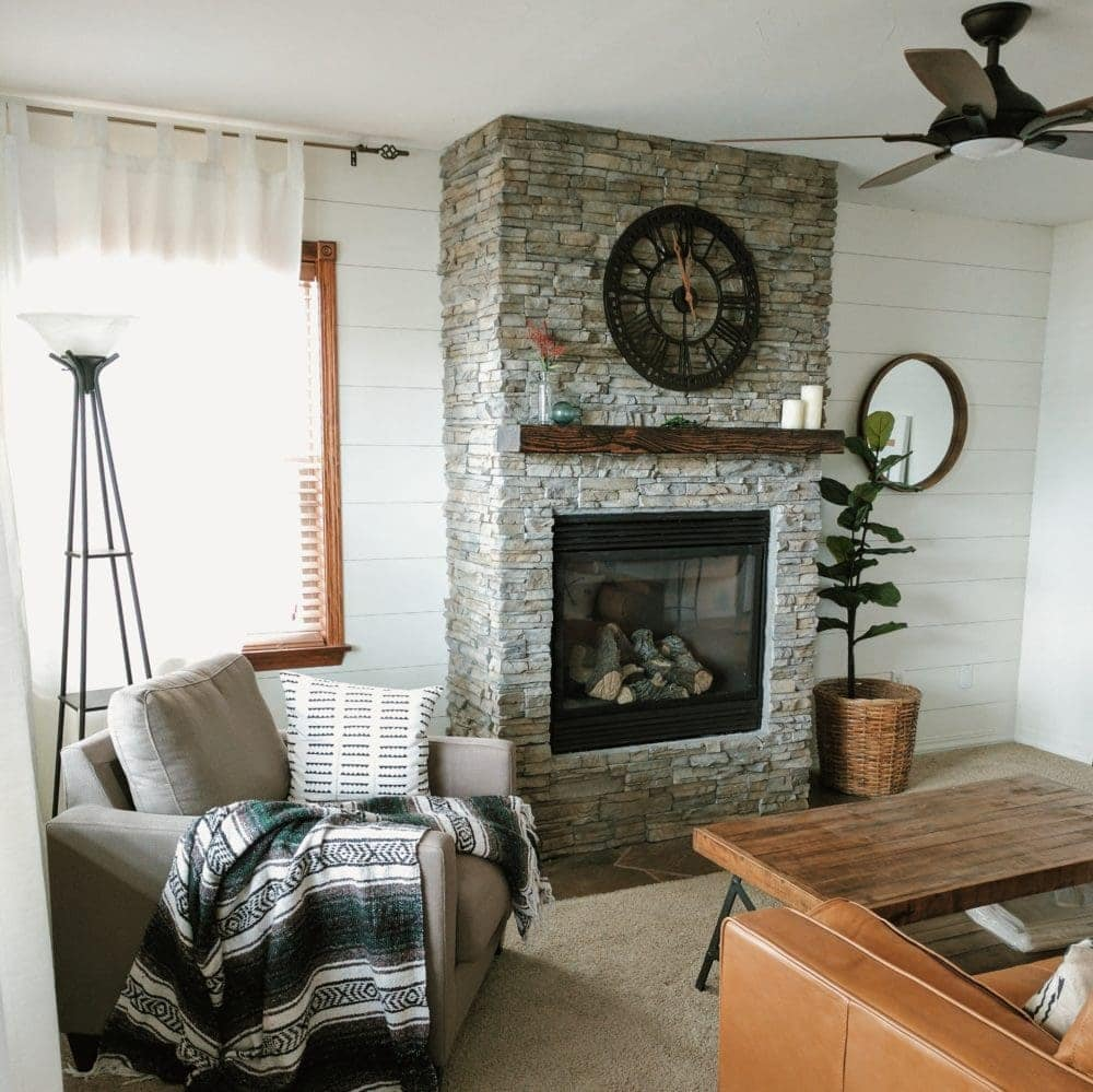 DIY stacked stone veneer fireplace remodel