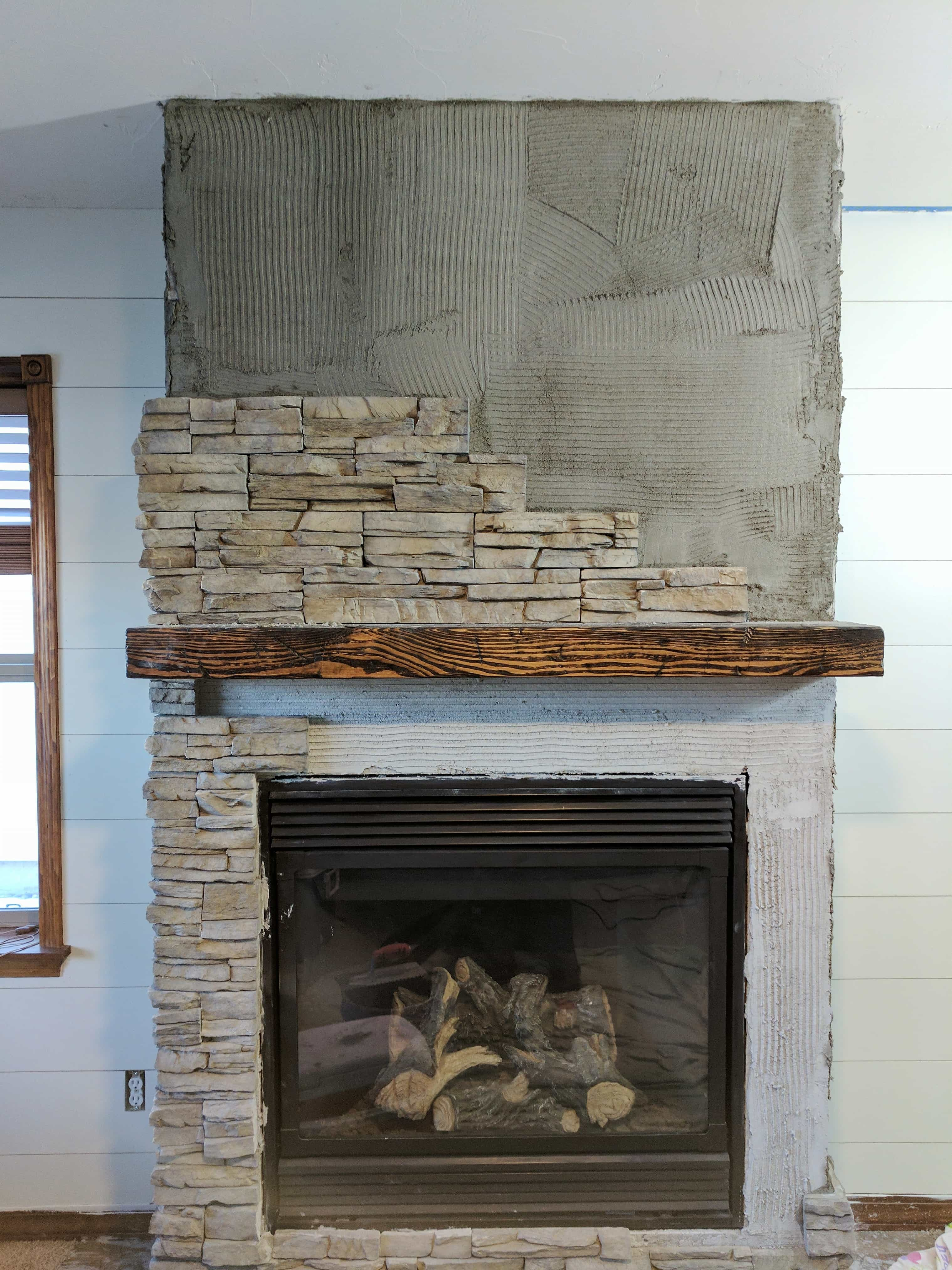Stacked Stone Fireplace Remodel Installing Stone Veneer