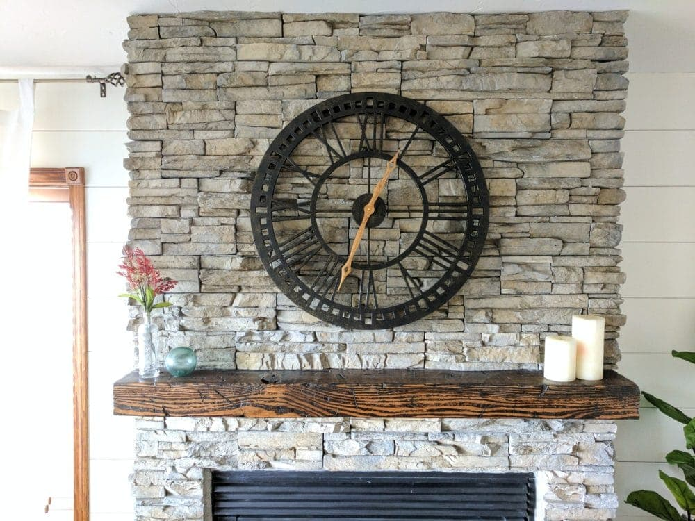 Stone veneer fireplace after picture