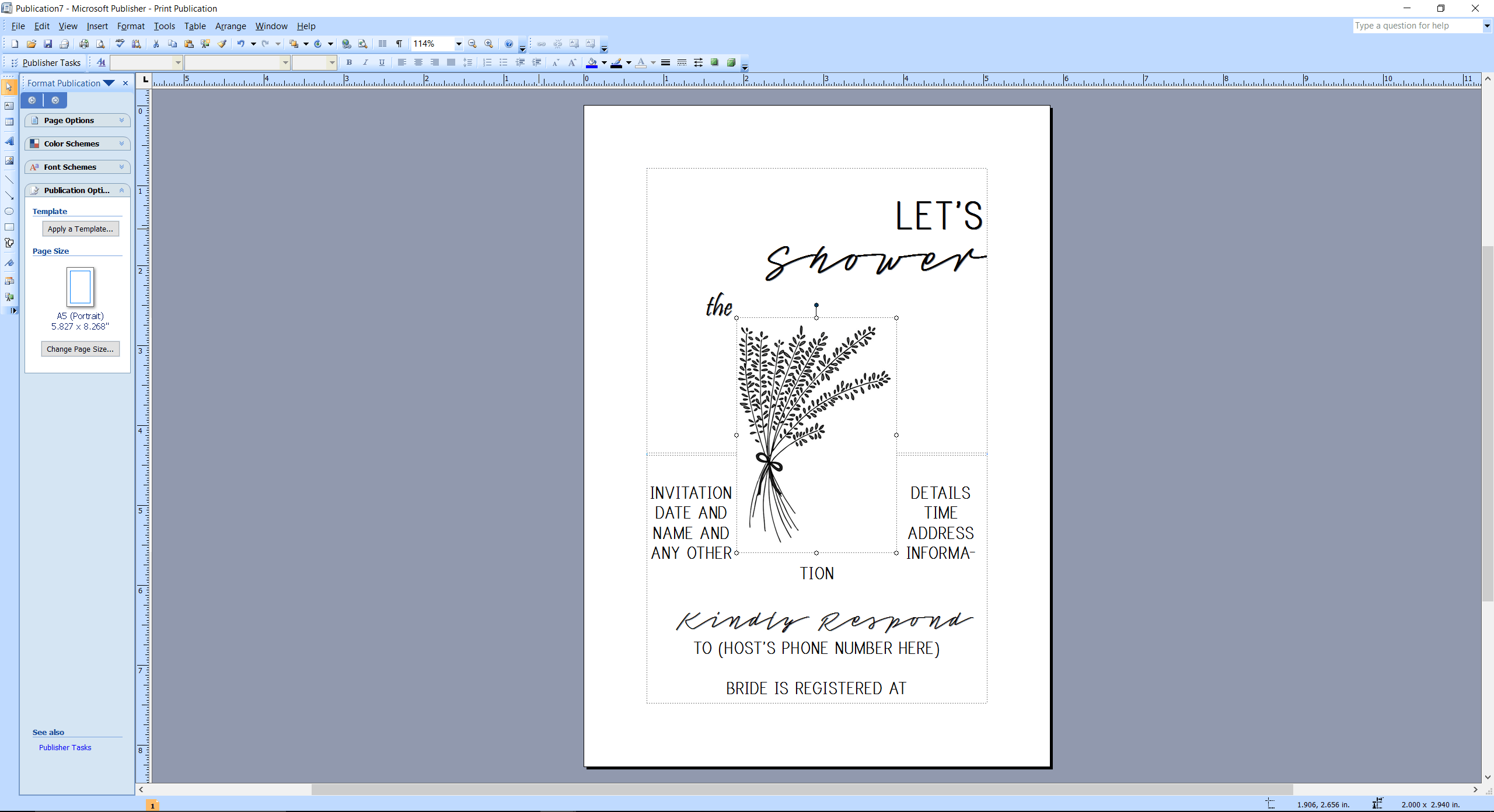 Microsoft Publisher screenshot applying a template