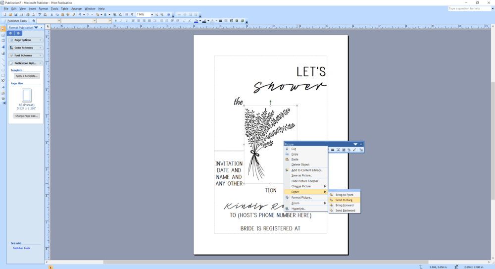 Microsoft Publisher screenshot how to send image to back