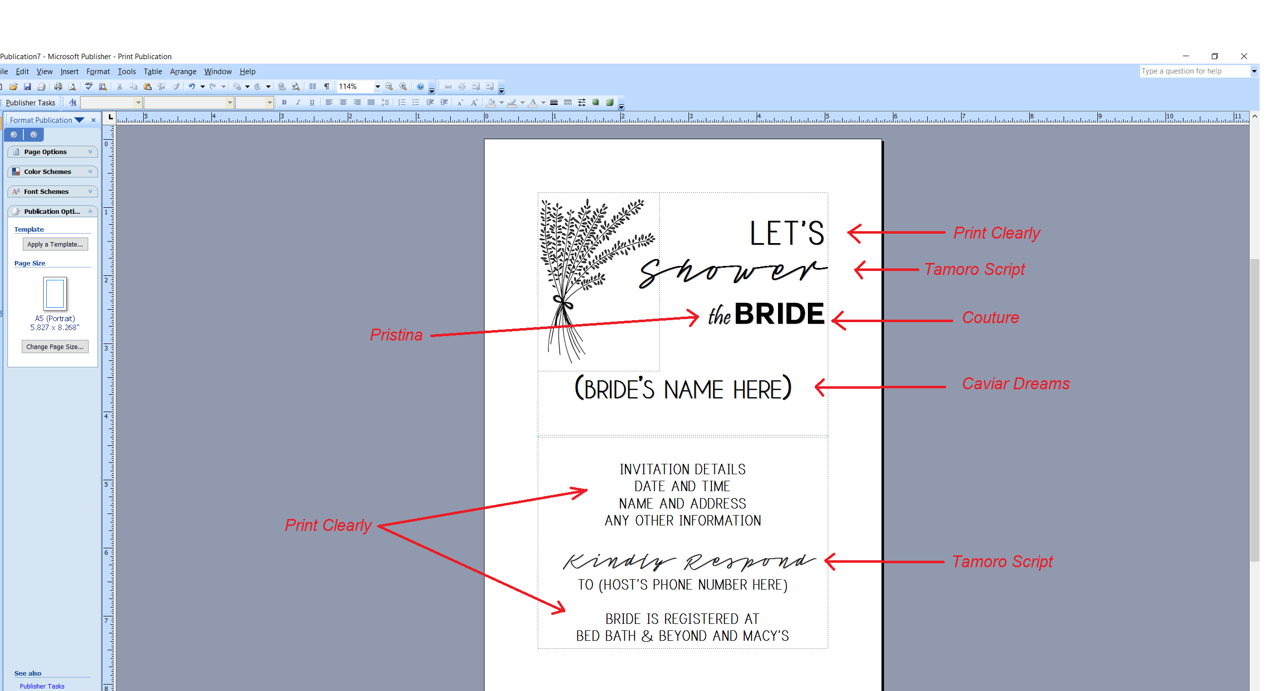 Microsoft Publisher screenshot showing which fonts were used