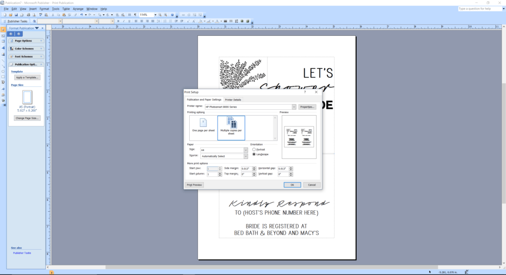 Microsoft Publisher screenshot how to print multiple copies per sheet