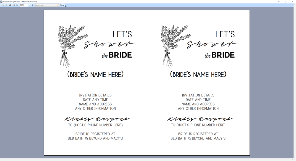 Microsoft Publisher screenshot Bridal Shower Invitation Print Preview