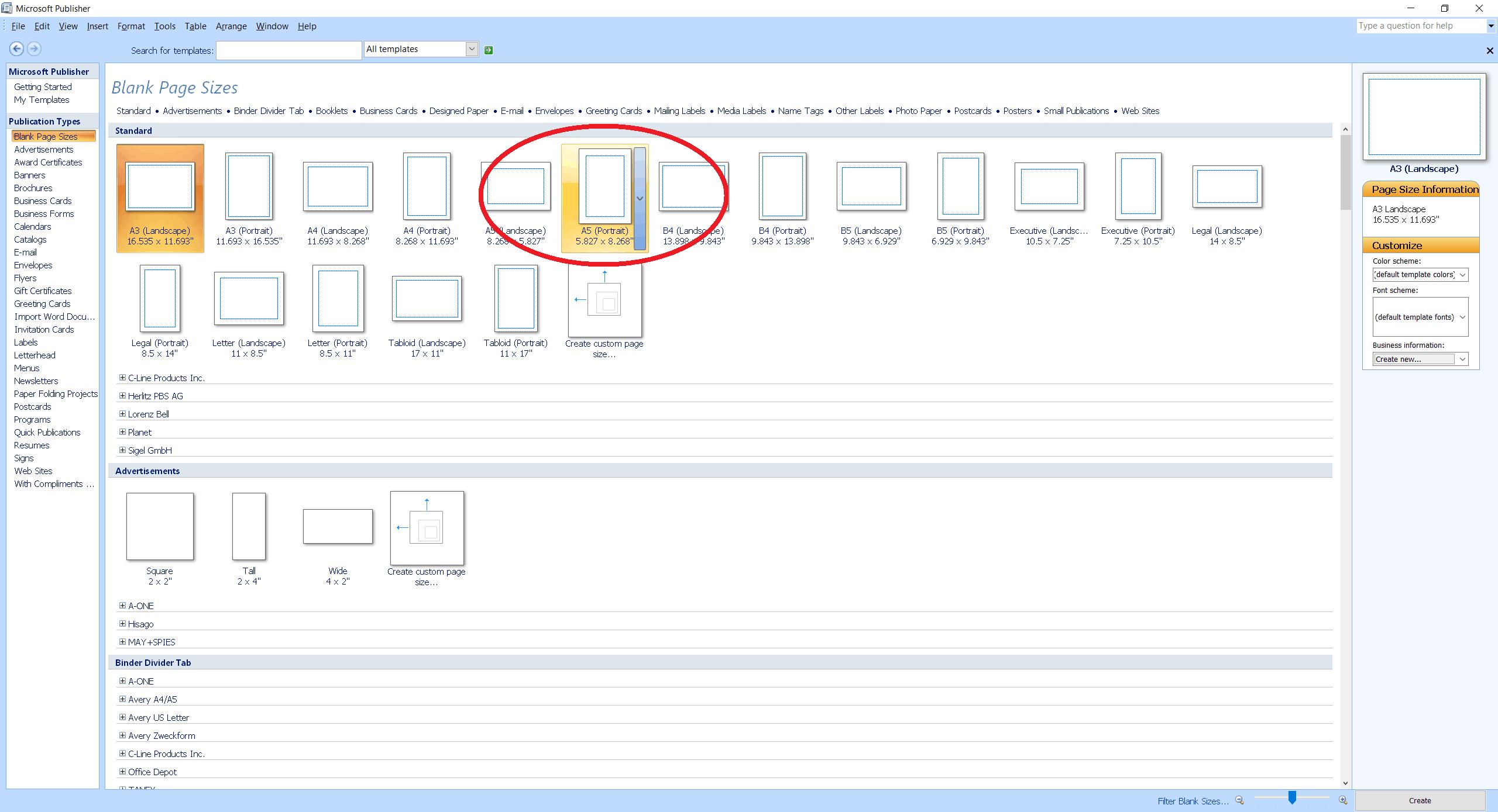 Microsoft Publisher screenshot choosing A5 (Portrait)