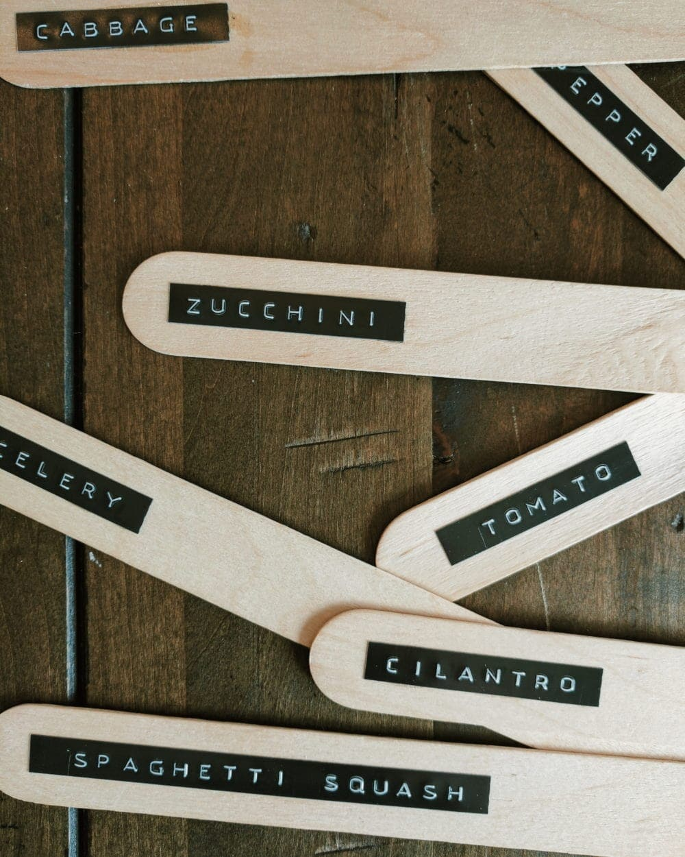 Popsicle sticks used as garden crop label stakes