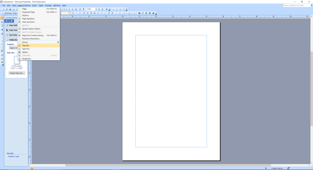 Microsoft Publisher screenshot insert Text Box