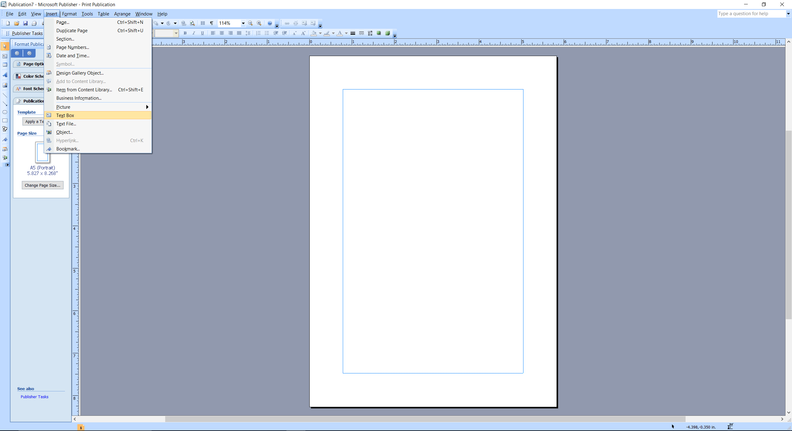 Microsoft Publisher screenshot insert Text Box