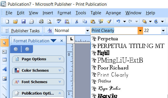 Microsoft Publisher screenshot selecting your custom font