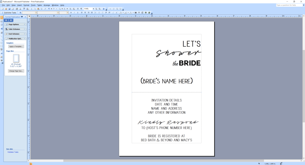 Microsoft Publisher screenshot showing a bridal shower invitation