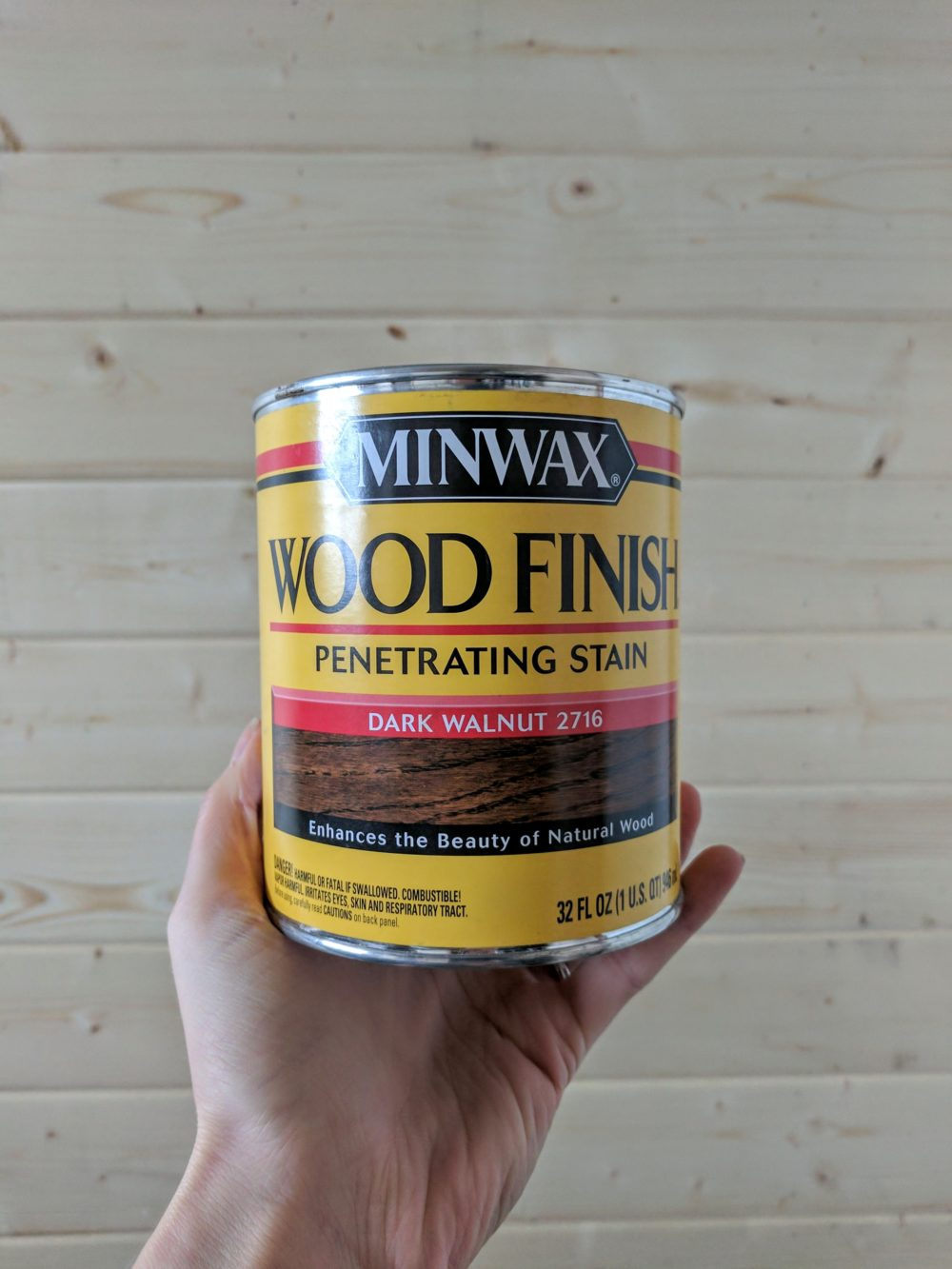 Can of Minwax Wood Stain in Dark Walnut 2716