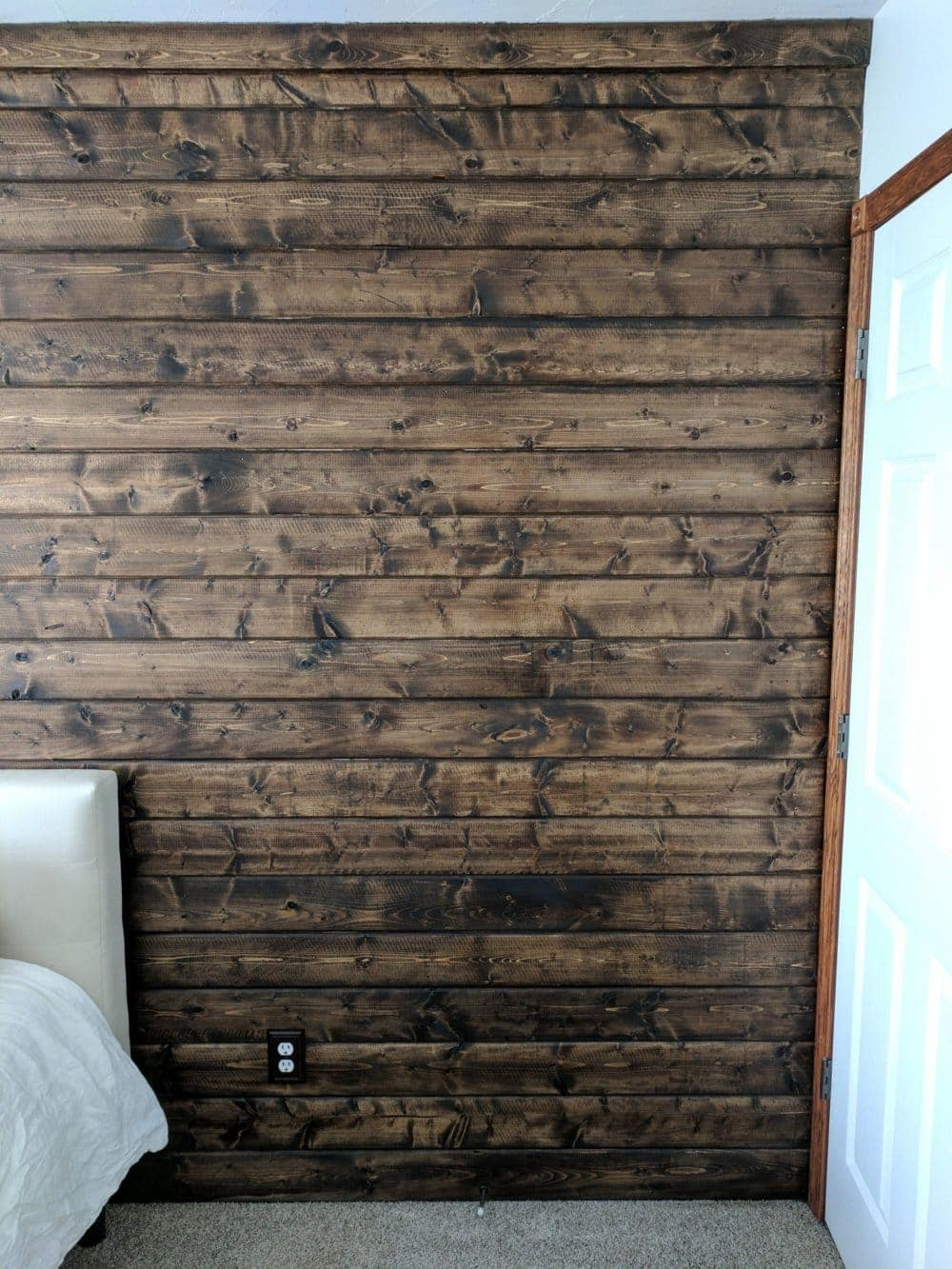 A DIY a Wood Plank Accent Wall Stained Walnut