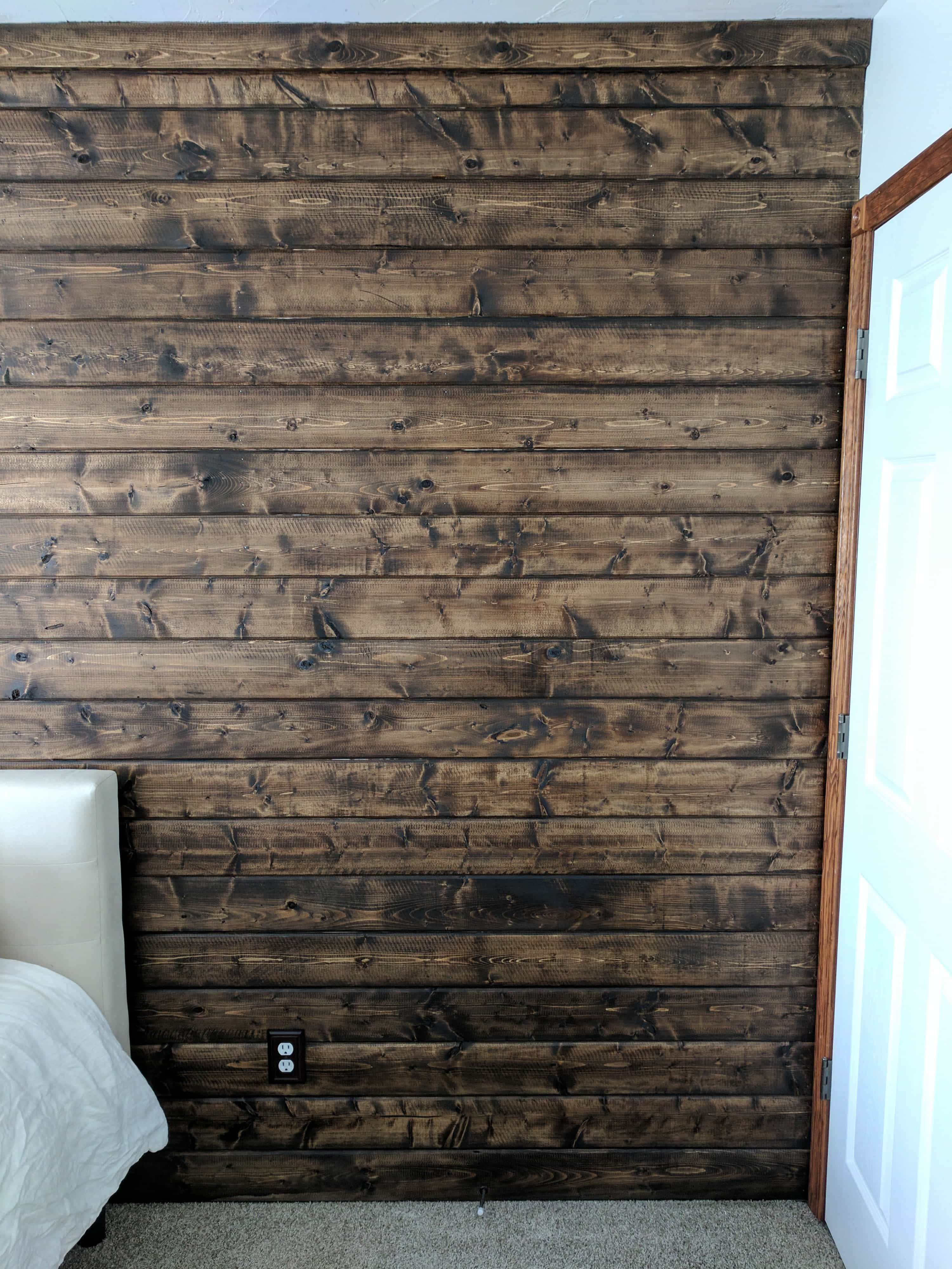 A Diy Wood Plank Accent Wall Stained Walnut