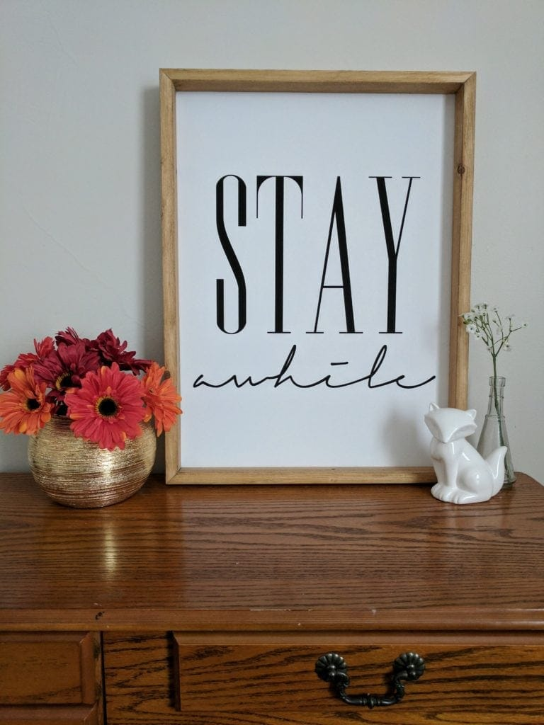 "canvas print, ""STAY AWHILE"""