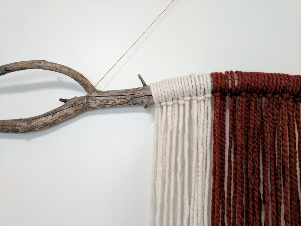 DIY driftwood woven wall hanging