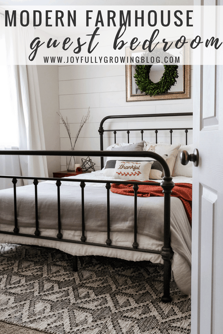"Farmhouse Bedroom. Text overlay, ""Modern Farmhouse guest bedroom"""