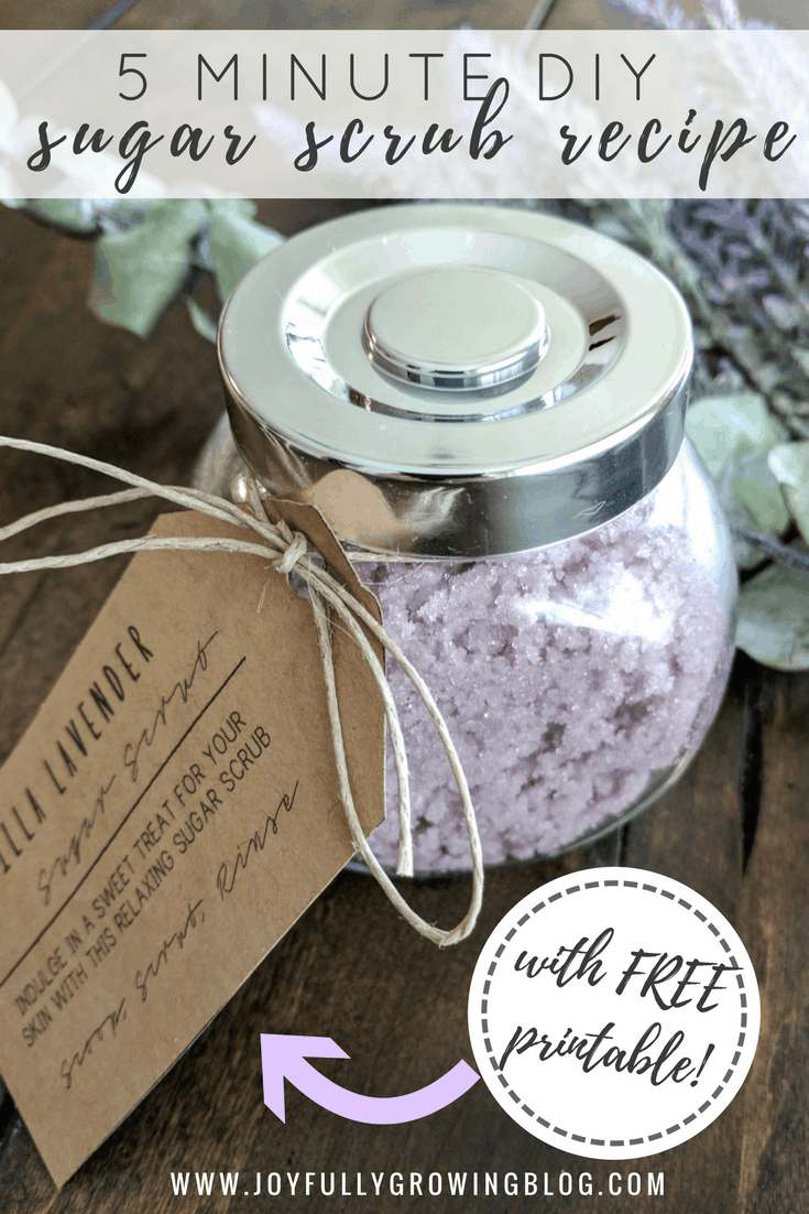 5 Minute DIY Sugar Scrub Recipe with FREE printable tags! This simple DIY is a great gift idea or make one for yourself and start relaxing today!