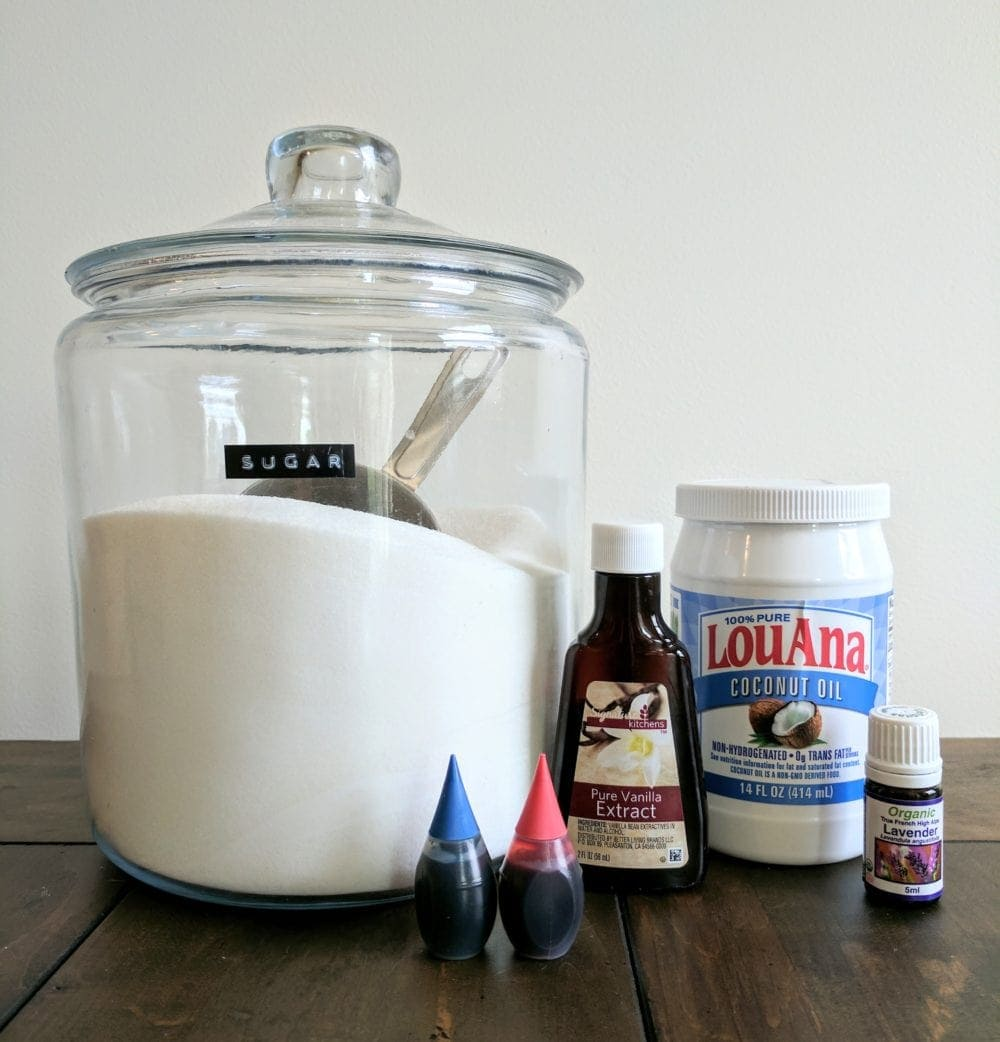 ingredients for DIY Sugar Scrub