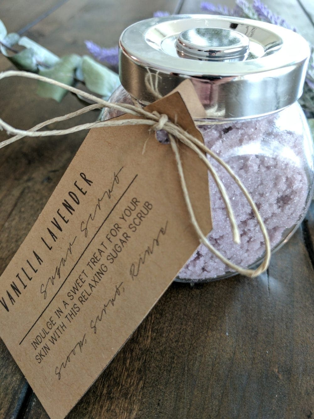 Diy Sugar Scrub label held on with twine