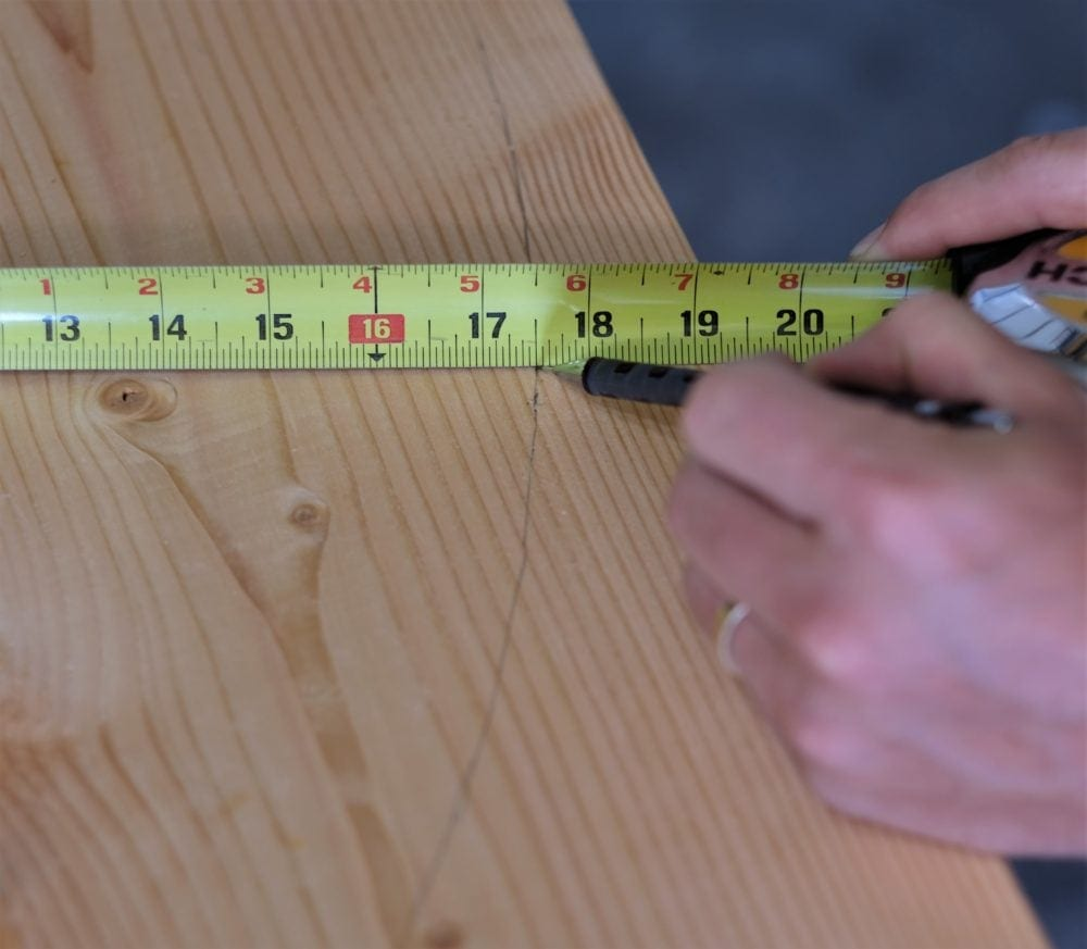 Marking boards to cut rustic coffee table
