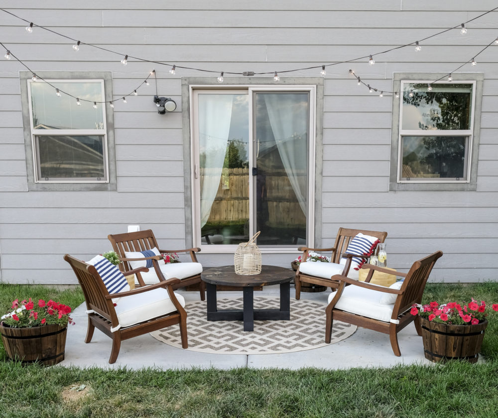 outdoor patio makeover complete with DIY string lights