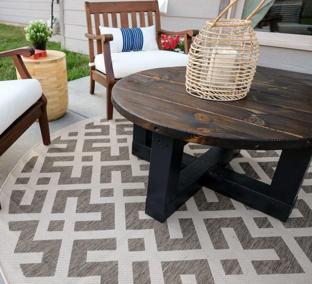 Outdoor Patio with Rustic Coffee Table