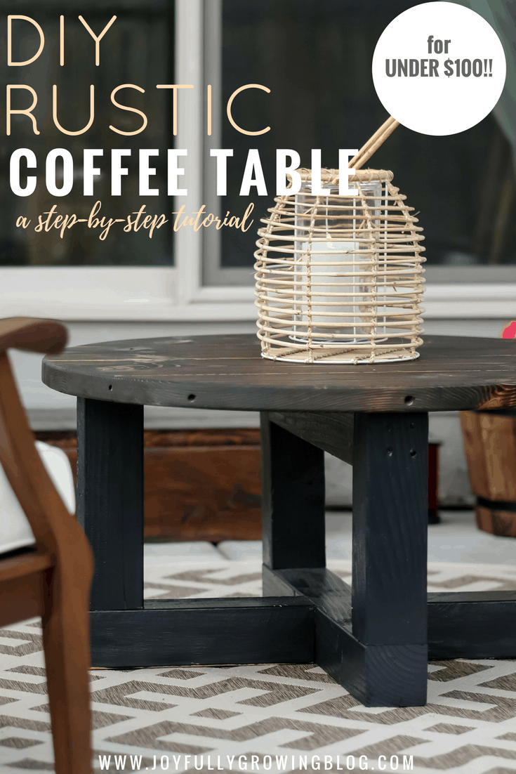 "Rustic Coffee Table On a Budget. Text overlay ""DIY Rustic Coffee Table a step by step tutorial"""