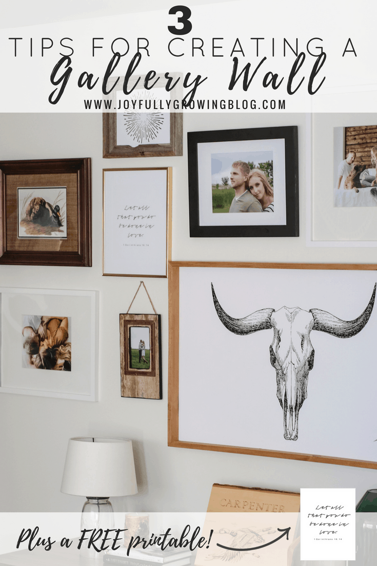 "living room gallery wall. Text overlay reads, ""tips for creating a gallery wall plus free printables"""