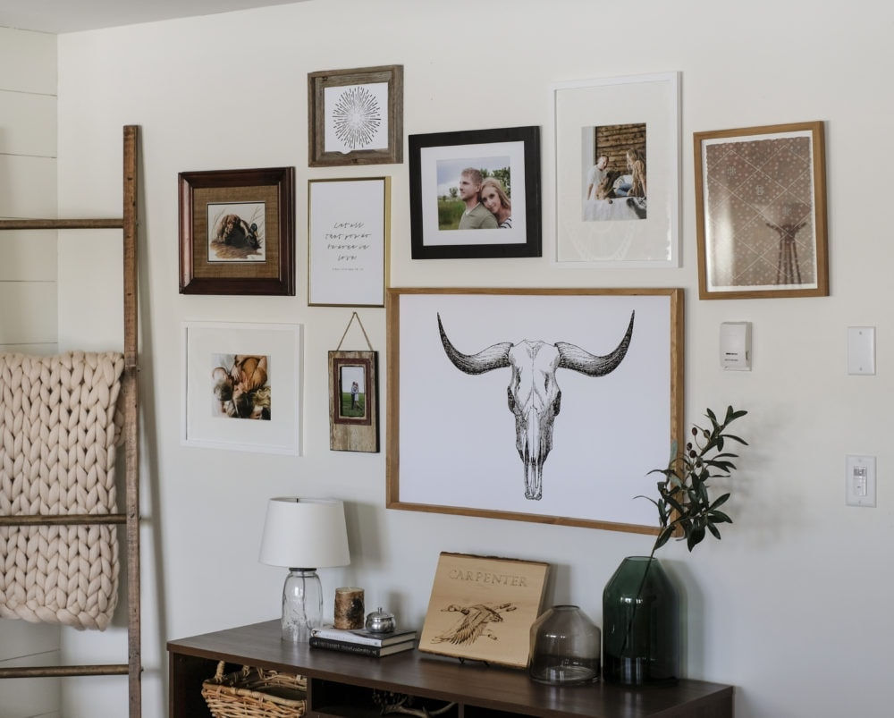 a gallery wall in a living room