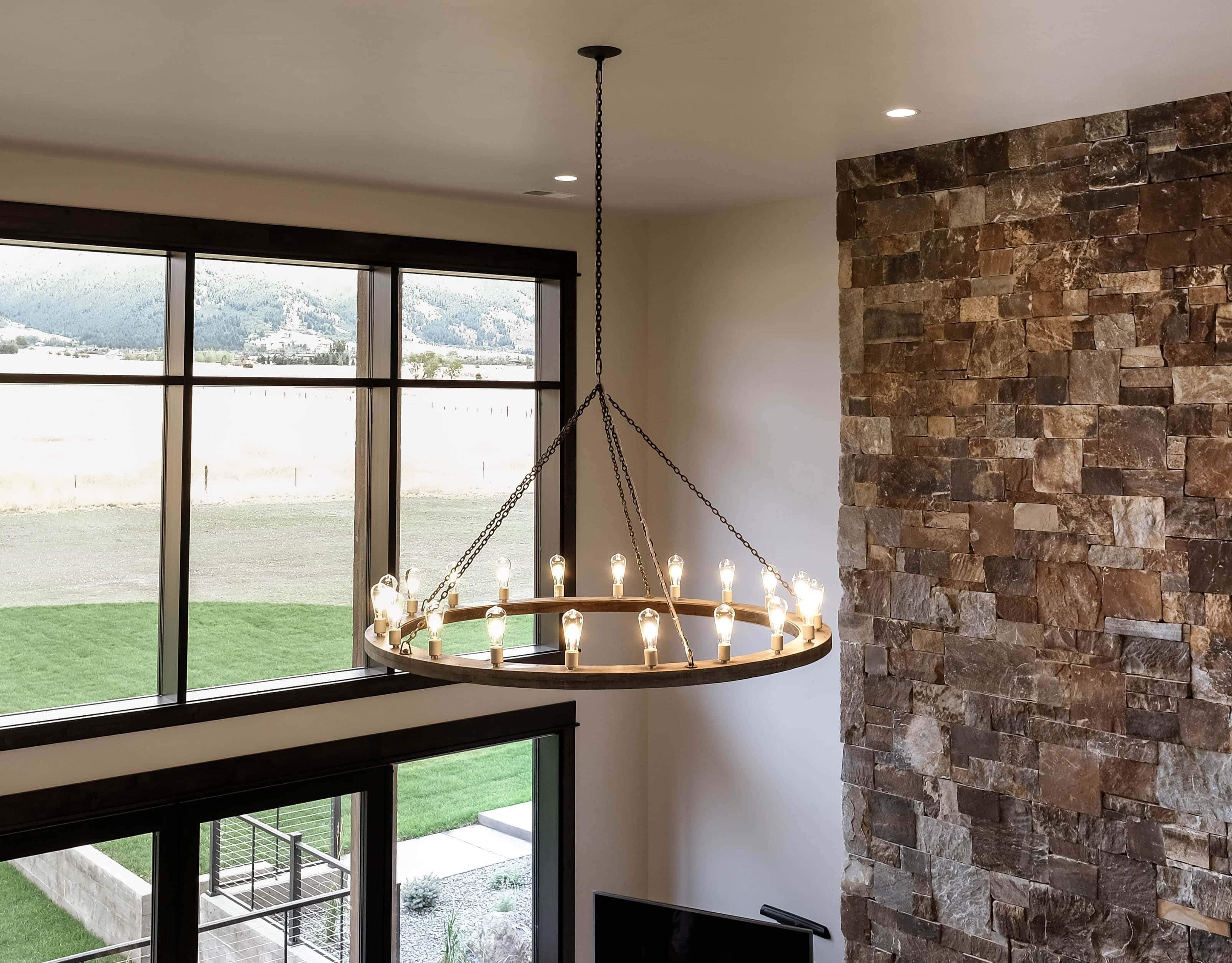 Parade of Homes great room chandelier with 20 edison style bulbs