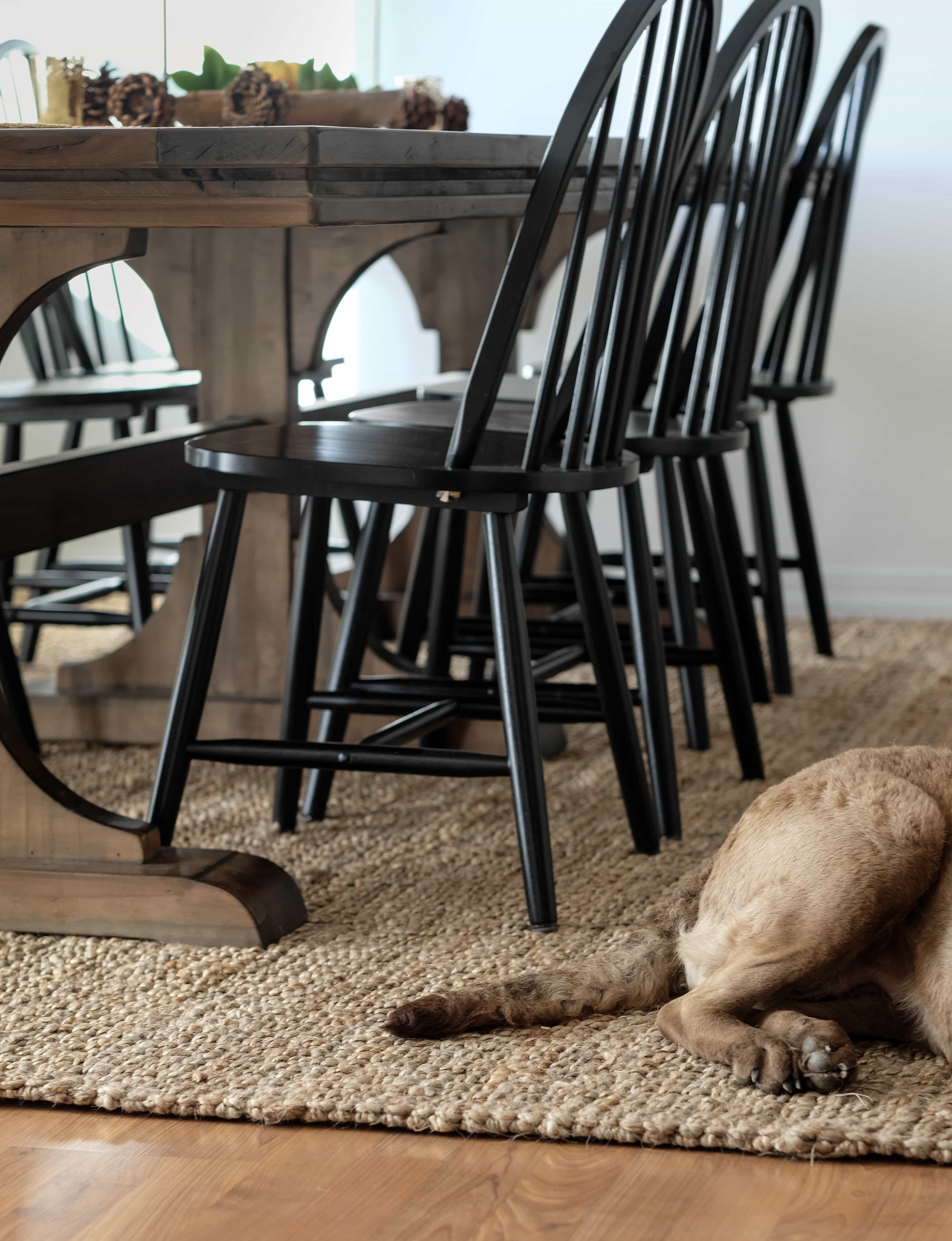 Jute Rug Review. Jute rug in dining room with table and chairs on it