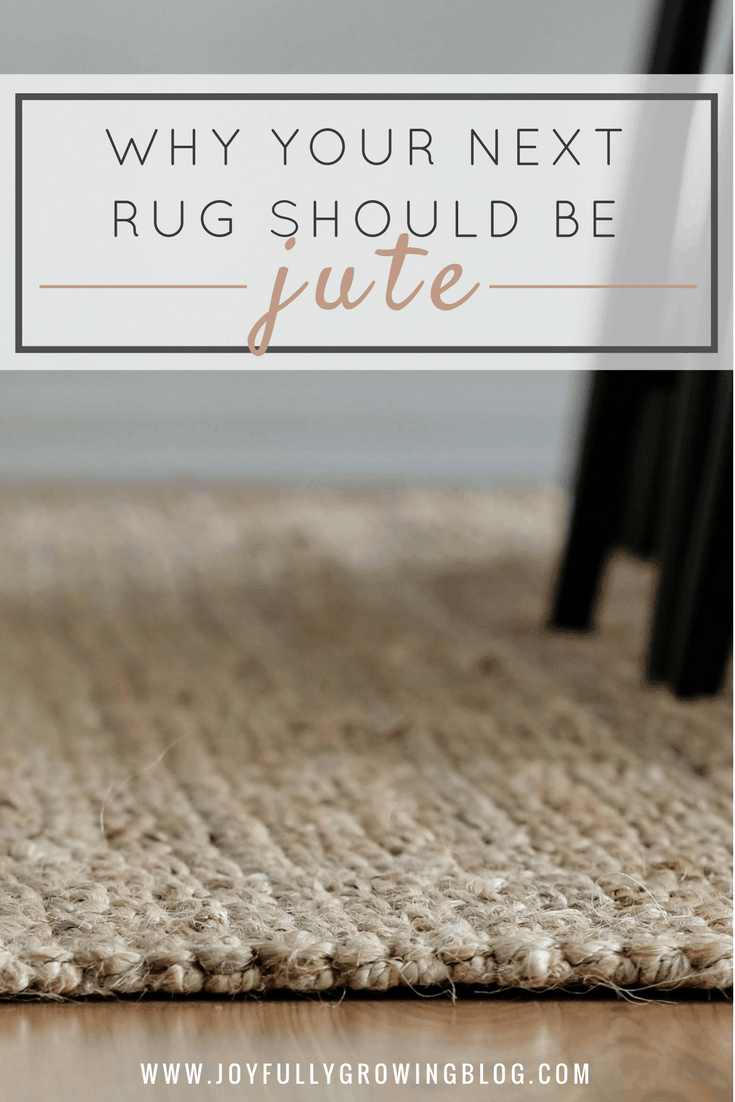 "jute rug in dining room. text overlay, ""why your next rug should be jute"""