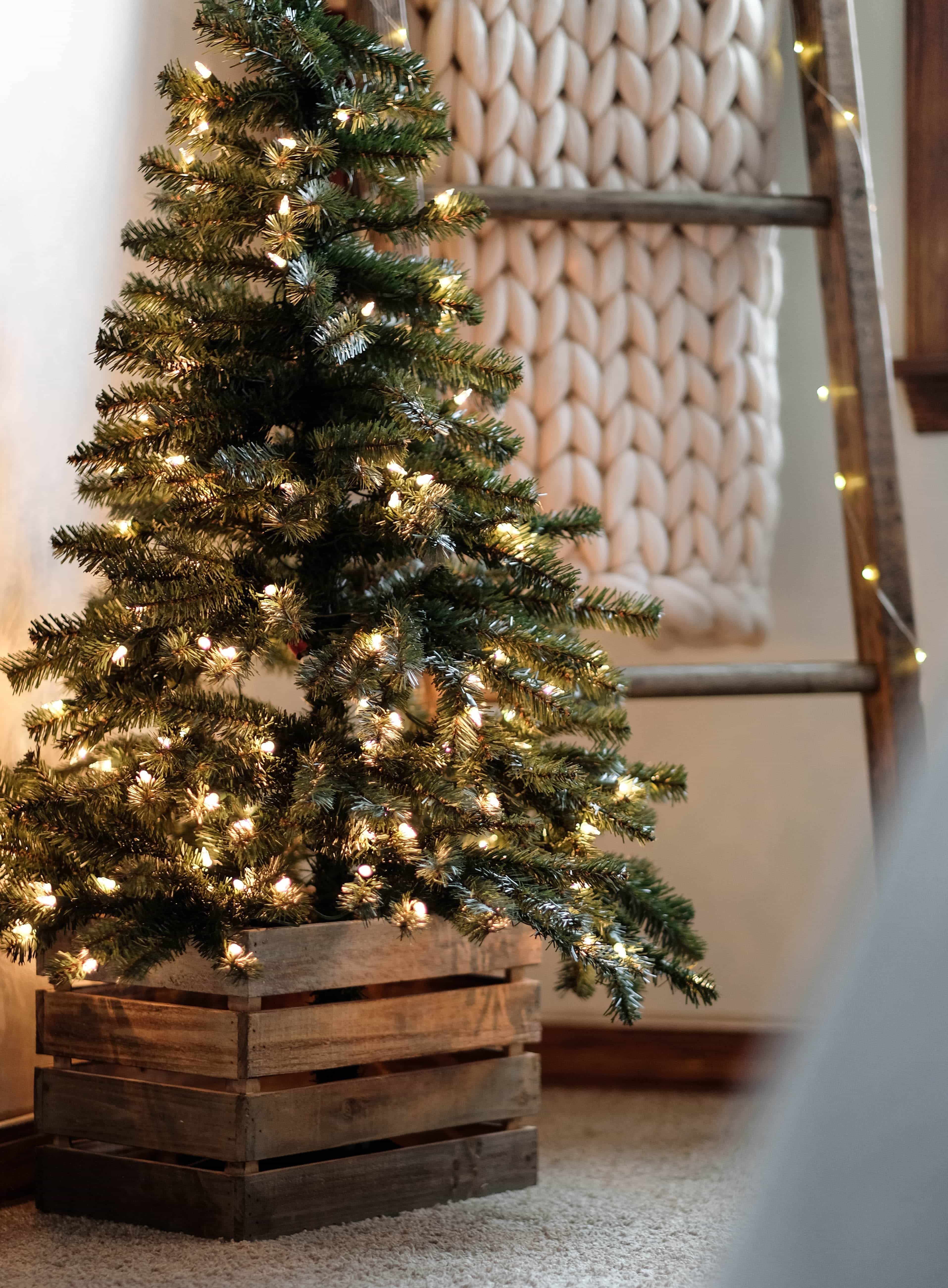 a small christmas tree with a blanket ladder in the background