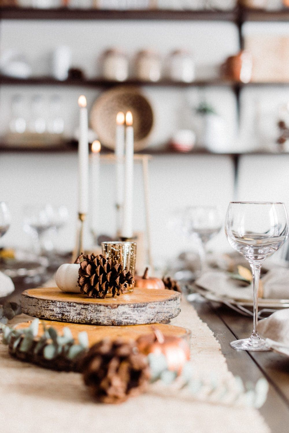 closeup of a thanksgiving dinner table centerpiece