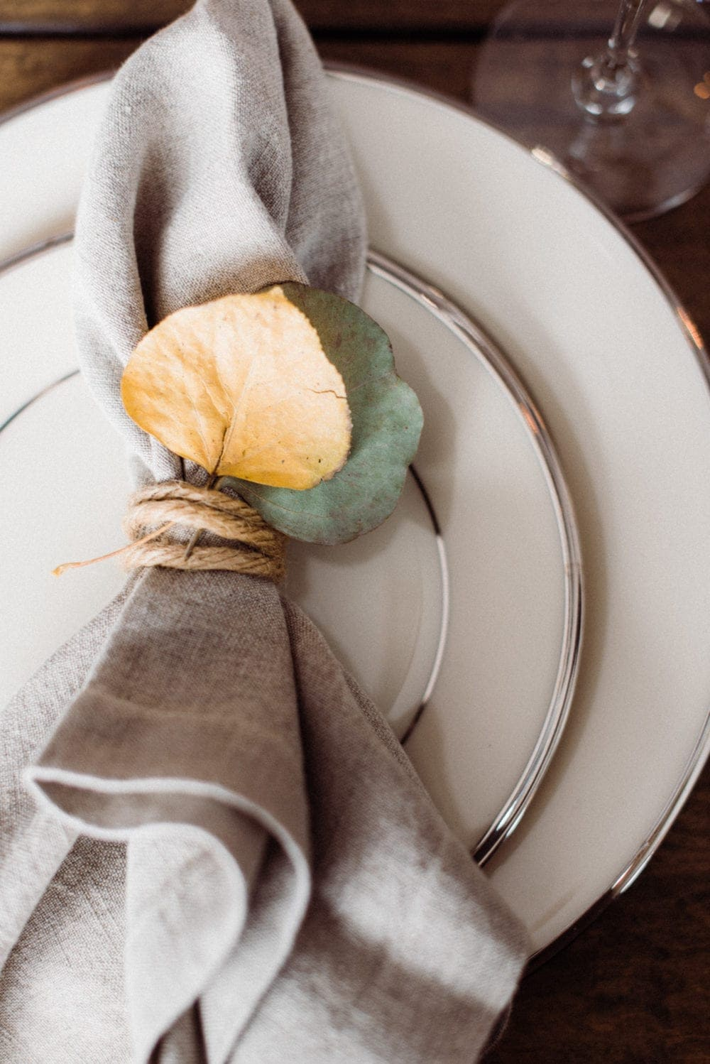 thanksgiving dinner plate with napkin tied with twine