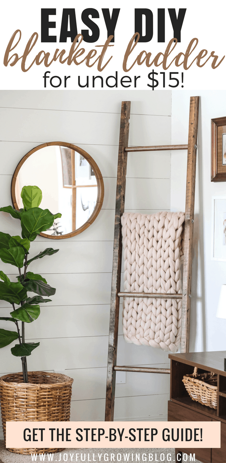 Blanket ladder with chunky knit blanket on one rung next to a round mirror and fiddle leaf fig tree