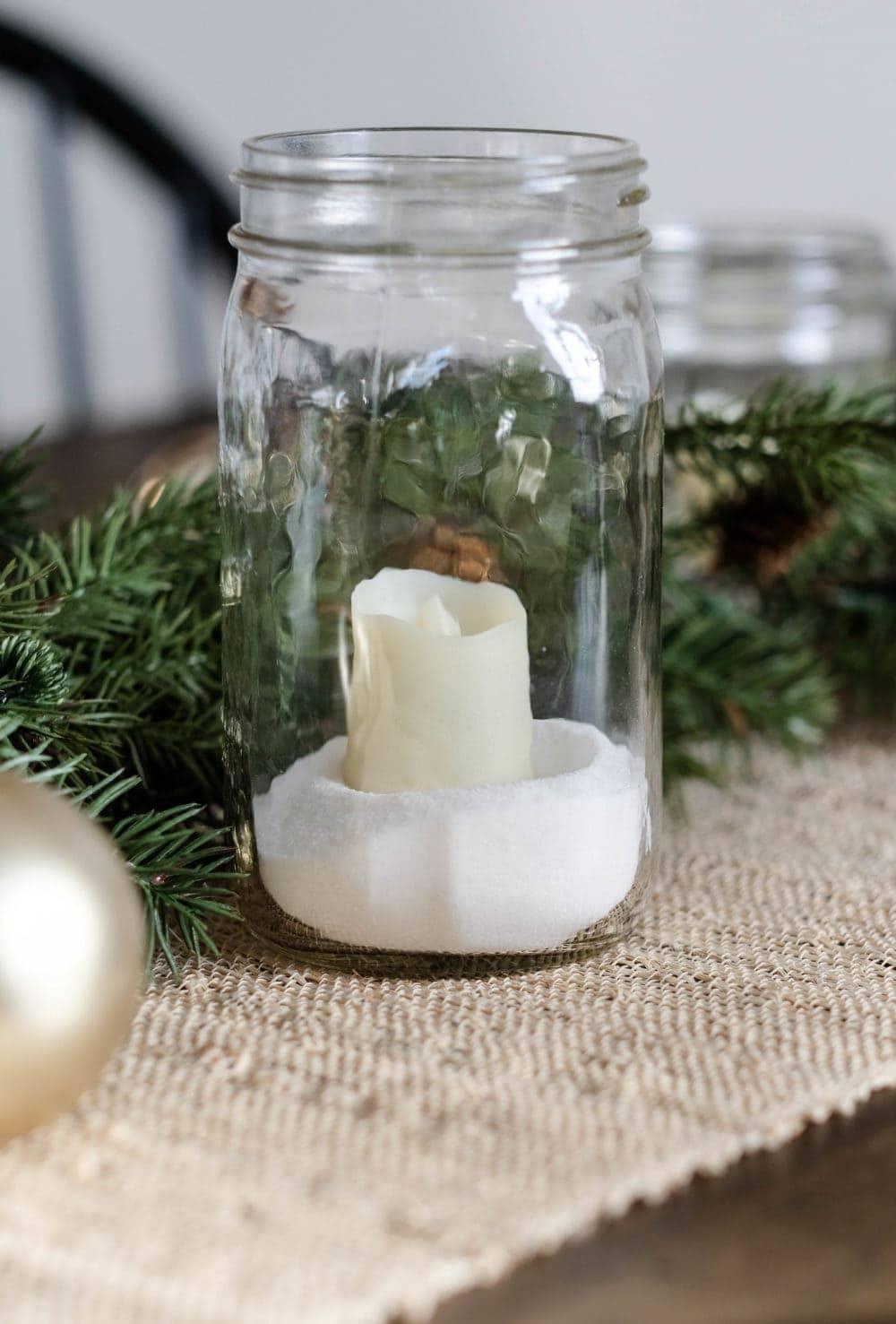 Simple Christmas Decor Ideas - Mason Jar Candle Holder