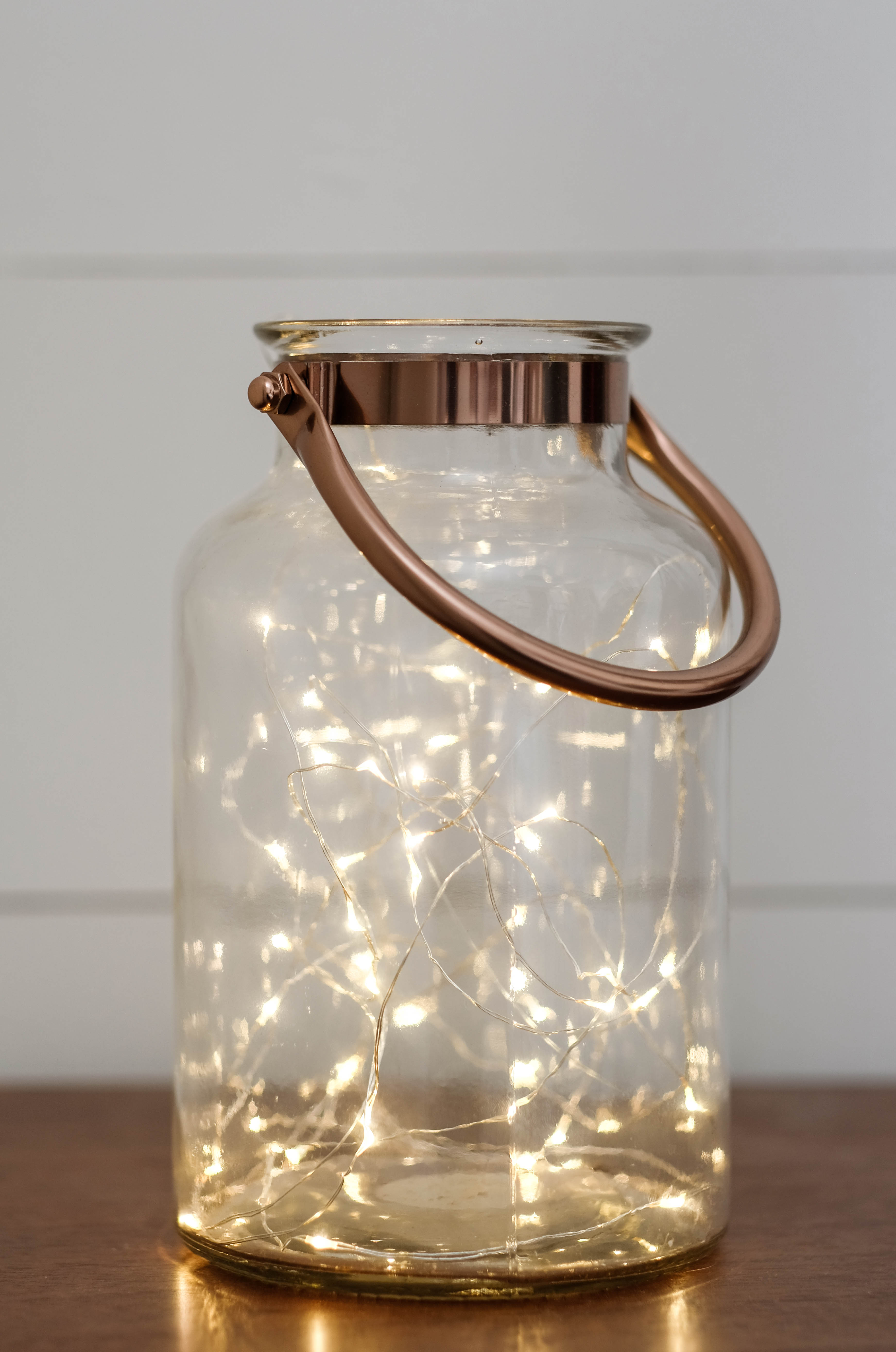 Lantern filled with christmas lights