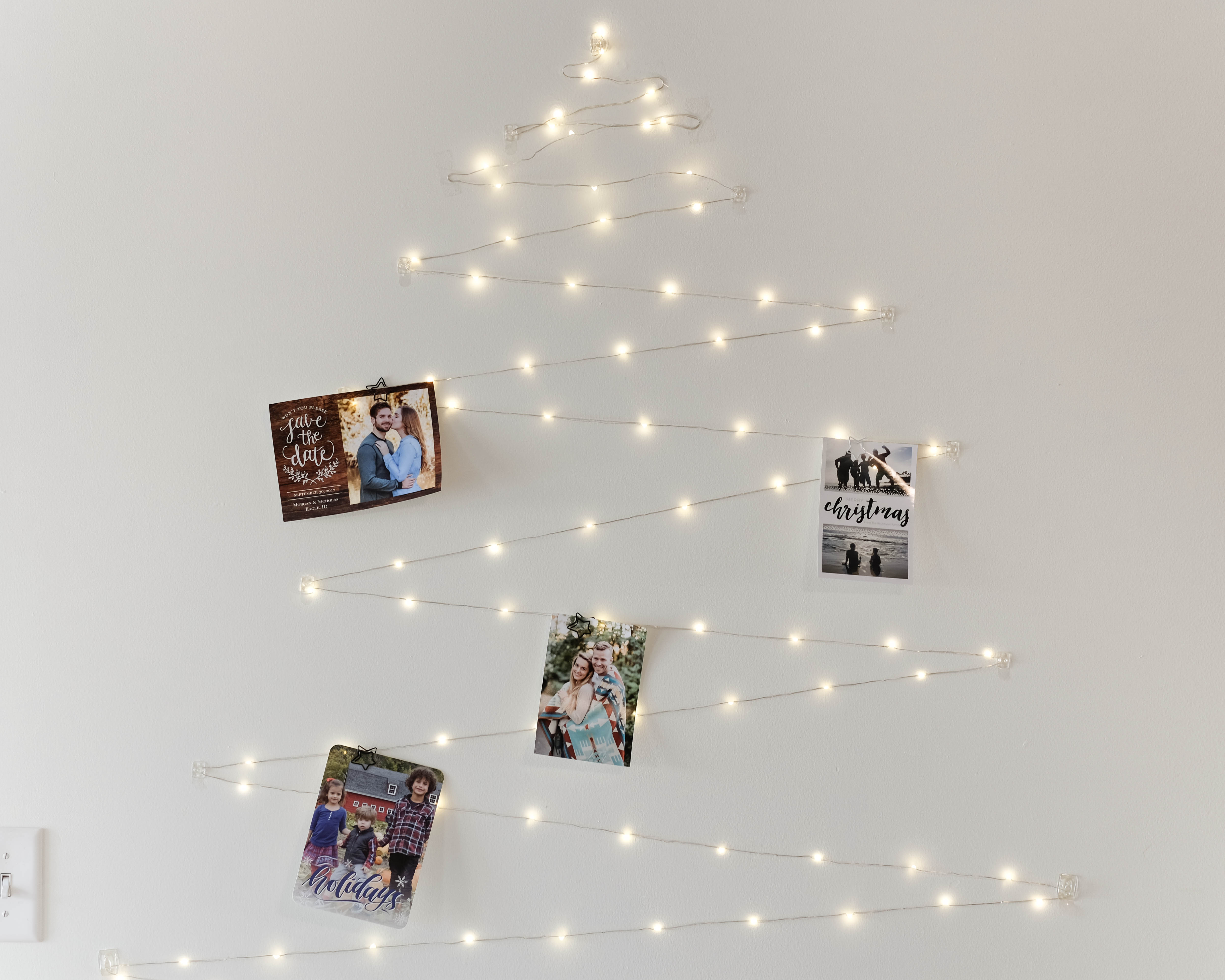 Christmas light tree with holiday cards