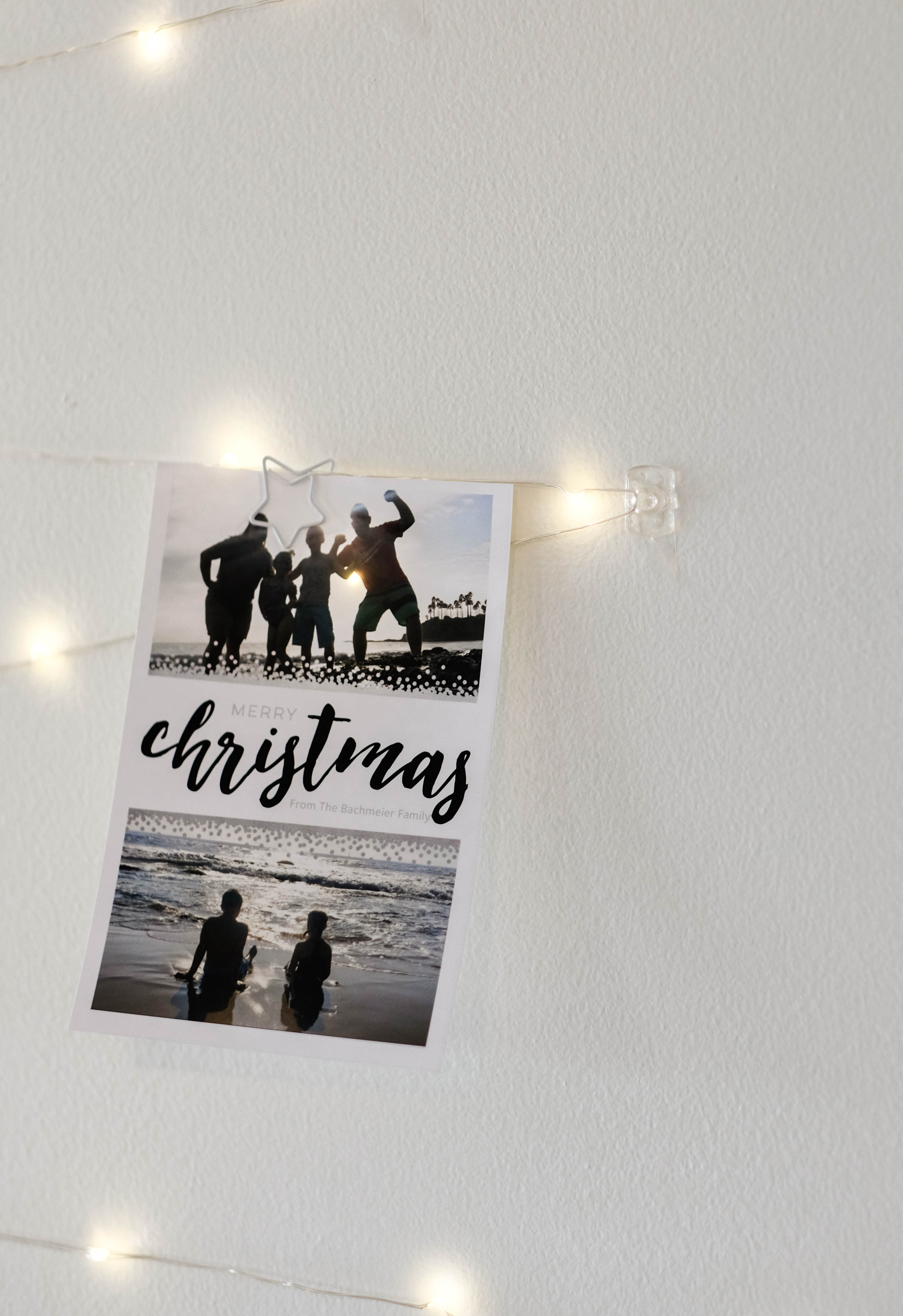 close up of Twinkle Light Card Display with christmas card
