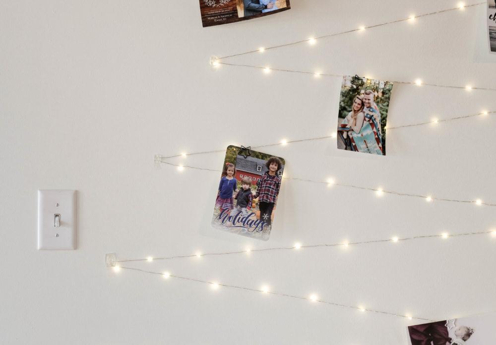Twinkle Light Card Display as christmas decor