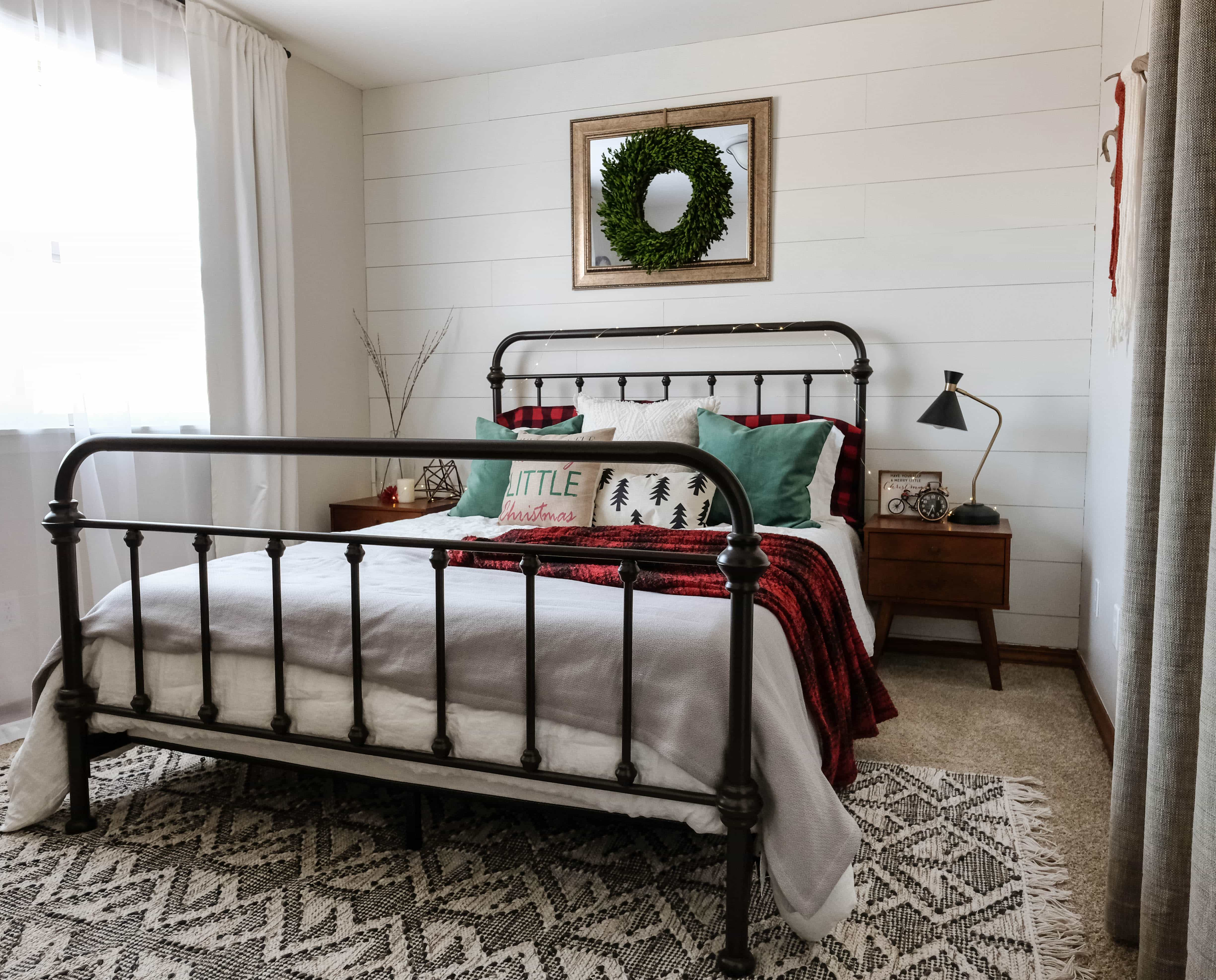 guest bedroom with christmas decorations