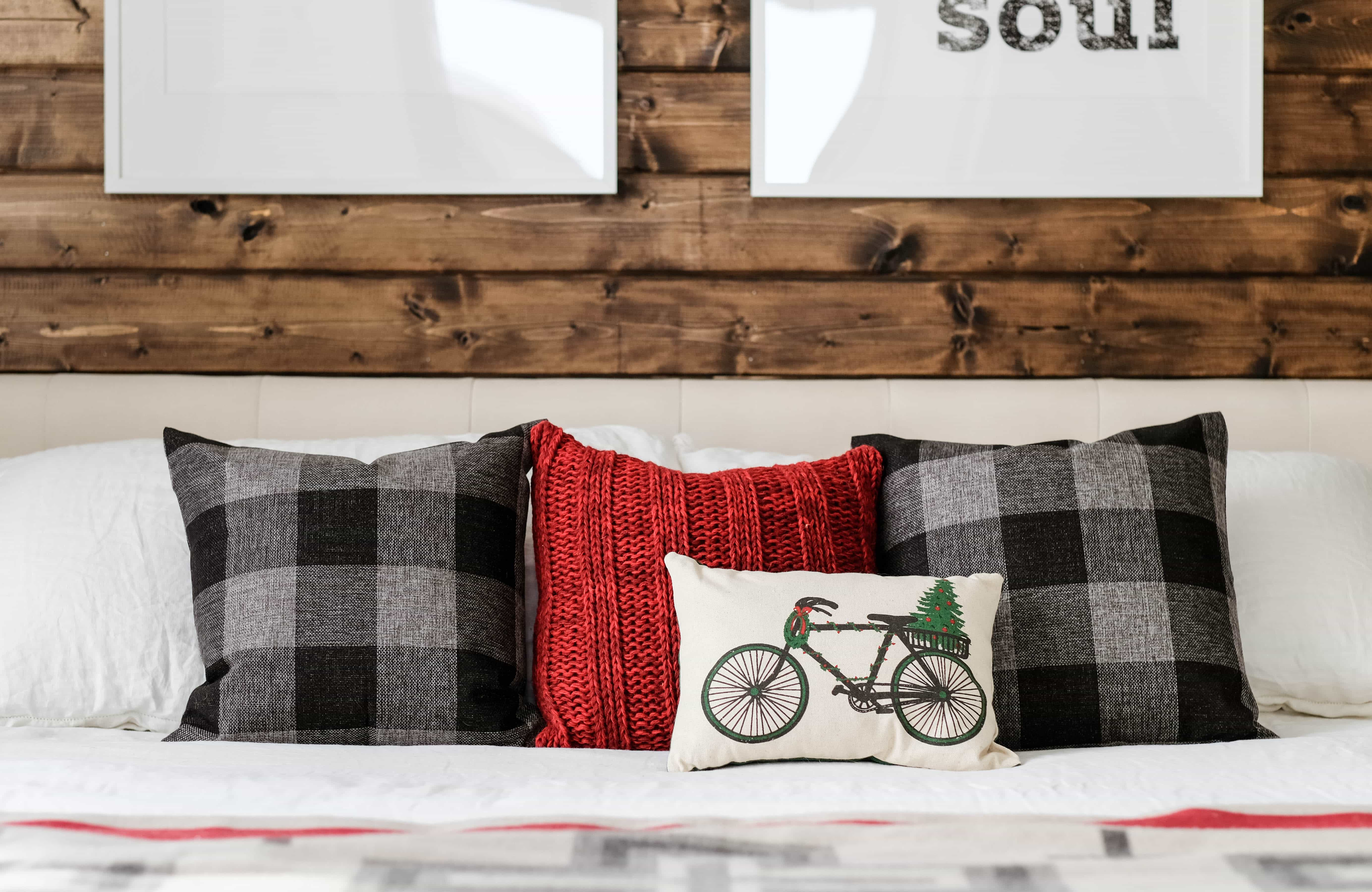 bedroom throw pillows styled for christmas