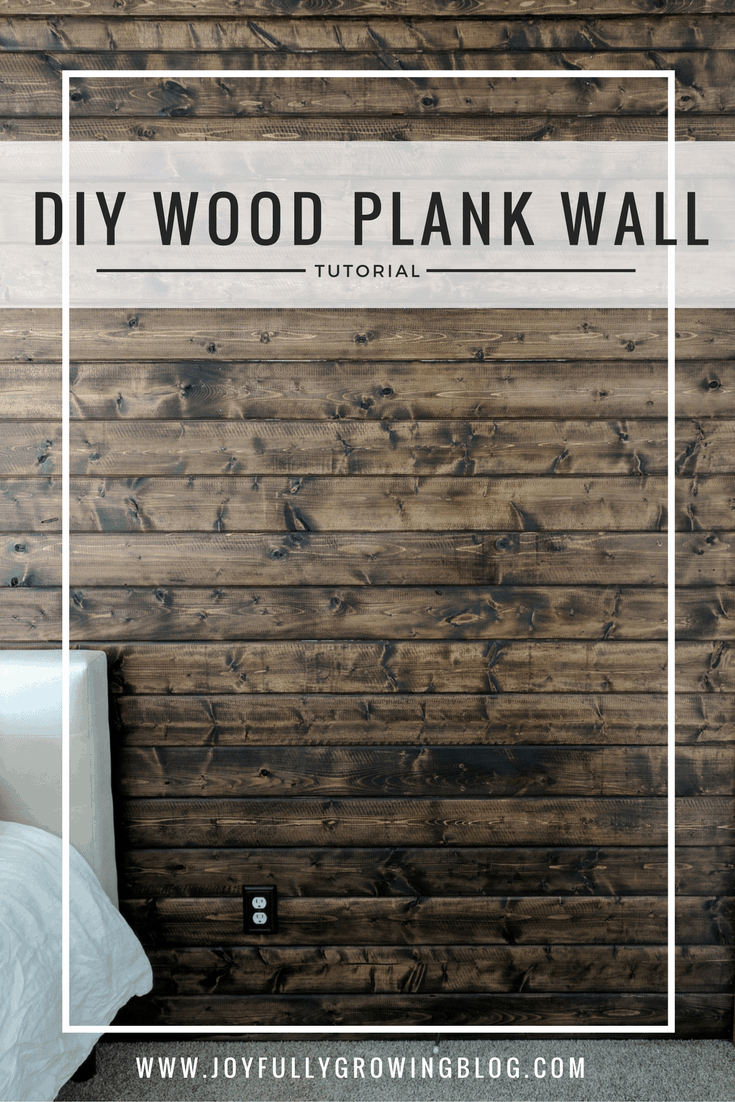 "walnut wood plank accent wall. text overlay, ""DIY WOOD PLANK WALL TUTORIAL"""