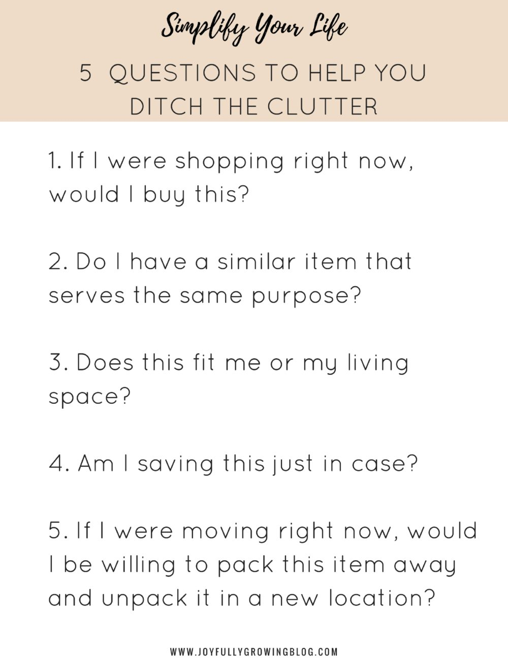 5 Questions to Help You Ditch the Clutter | Simplify Your Life - Part 1