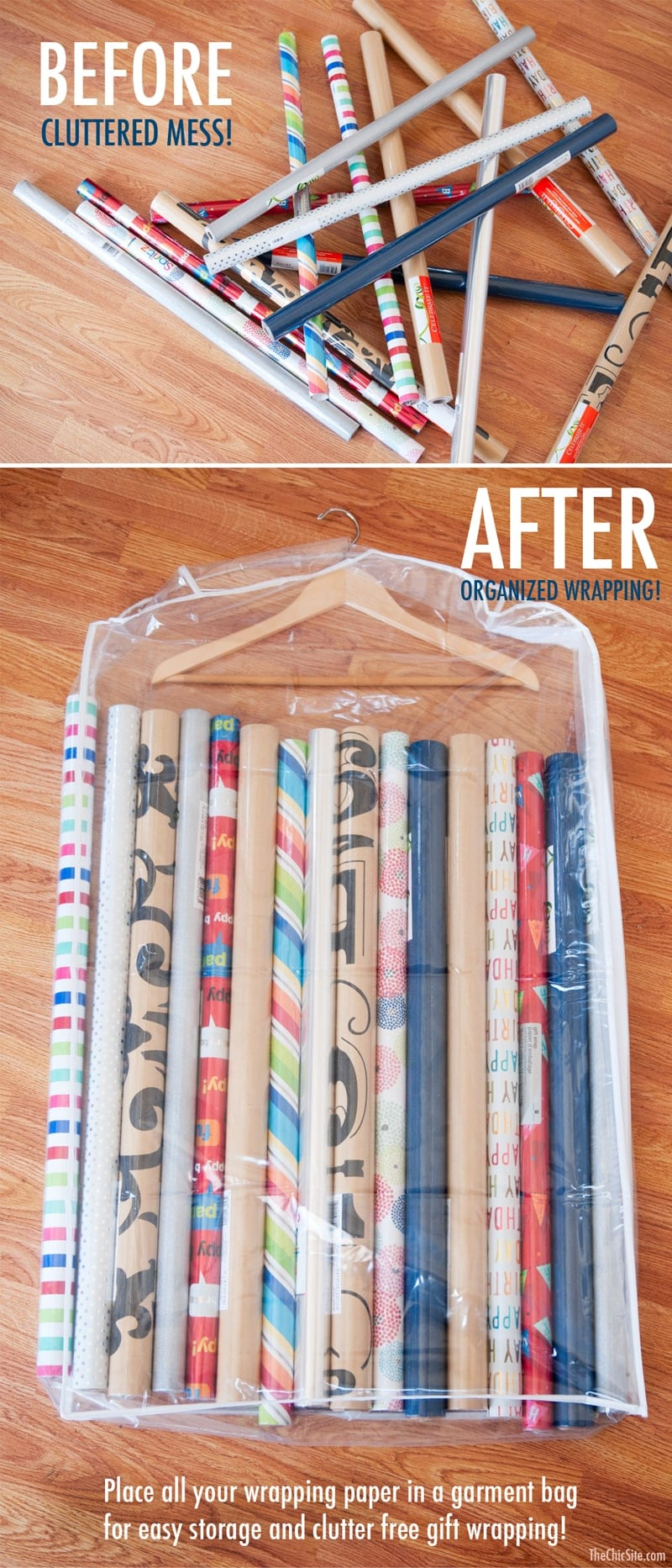 A before and after image showing a pile of wrapping paper rolls scattered on floor, and then neatly stored inside of a garment bag