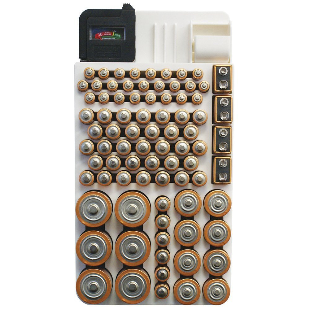 Battery storage container with 82 batteries of varying sizes from Amazon