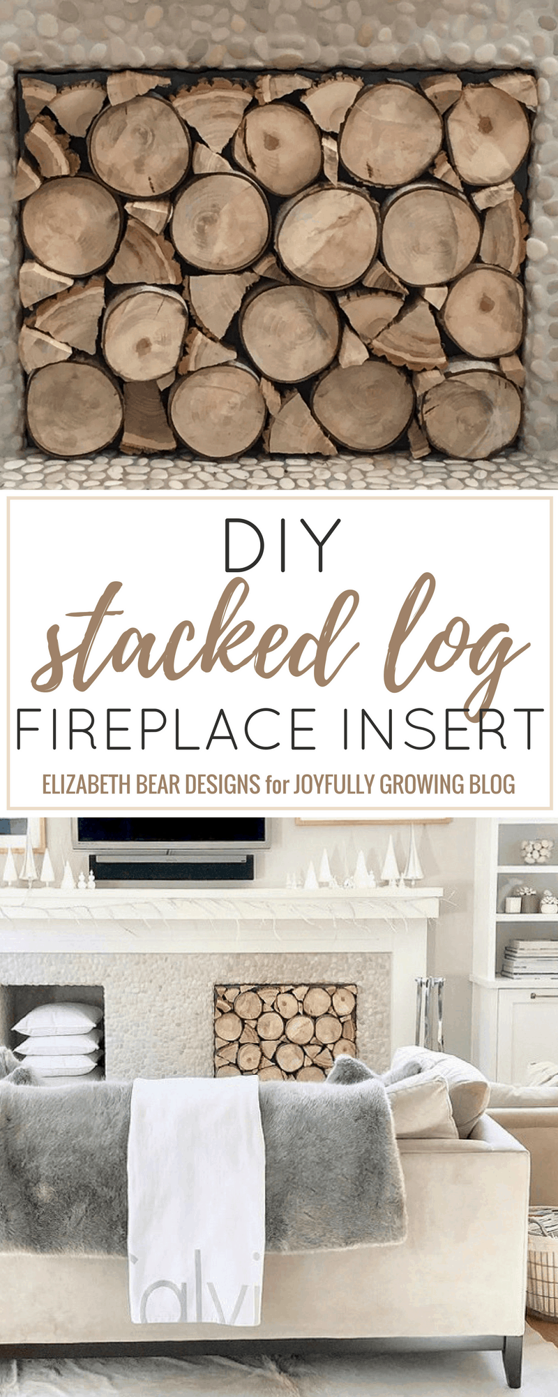 DIY stacked log fireplace insert