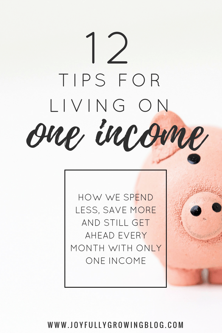 "Piggy Bank with Text Overlay ""12 Tips for living on one income - How we spend less, save more and still get ahead every month with only one income"""