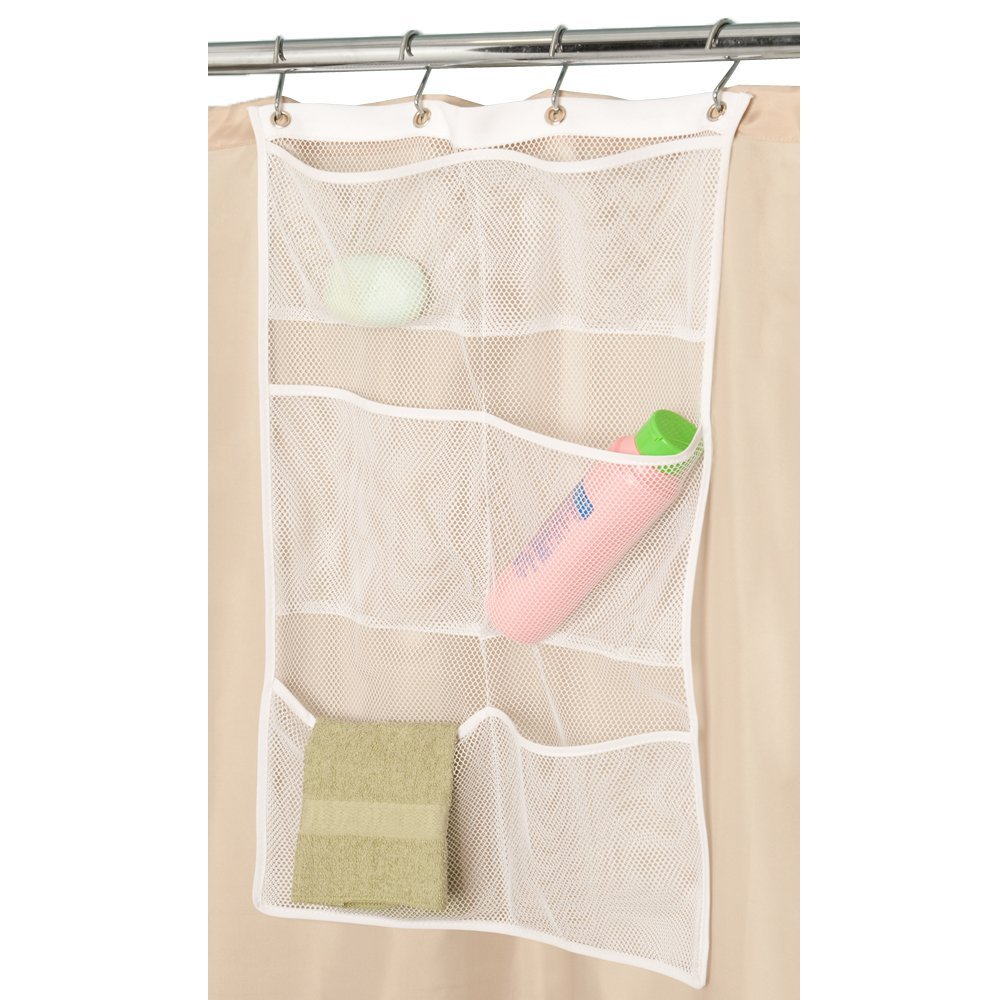 Mesh shower curtain organizer with 6 pockets to hold shower items hanging on the inside of a shower curtain
